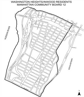 Map of reduced parking restrictions in Inwood/Washington Height