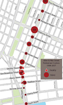 Map of Crash statistics along Allen and Pike Streets