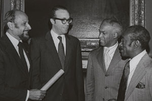 Percy Sutton, Adam Clayton Powell III, Deputy Mayor Paul Gibson, Manhattan Councilman Fred Samuel.
