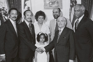 David Dinkins, Heyward Davenport with wife and daugther, Percy Sutton, Mayor Abraham Beame, Deputy Mayor Paul Gibson.