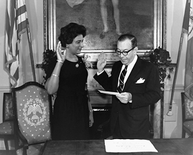 State Senator Constance Baker Motley with Mayor Wagner, February 7, 1963.
